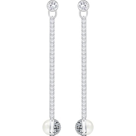 Giulia Pierced Earrings, White - Swarovski, 5266063