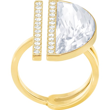 Glow Ring, White, Gold-tone plated - Swarovski, 5266704