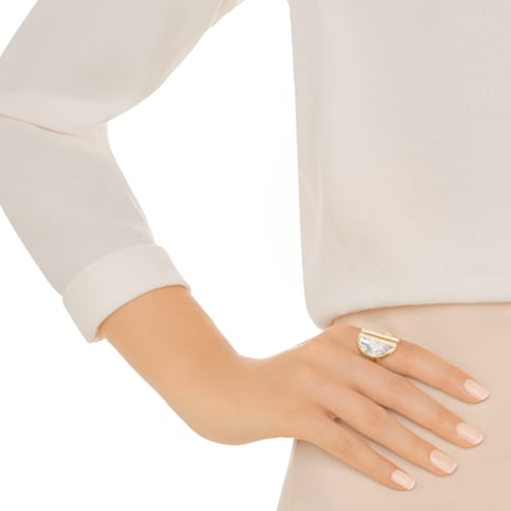 Glow Ring, White, Gold-tone plated - Swarovski, 5266704