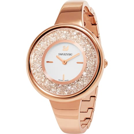Crystalline Pure Watch, Metal bracelet, White, Rose-gold tone PVD - Swarovski, 5269250