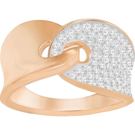 Anillo Guardian, blanco, Baño en tono Oro rosa - Swarovski, 5272354