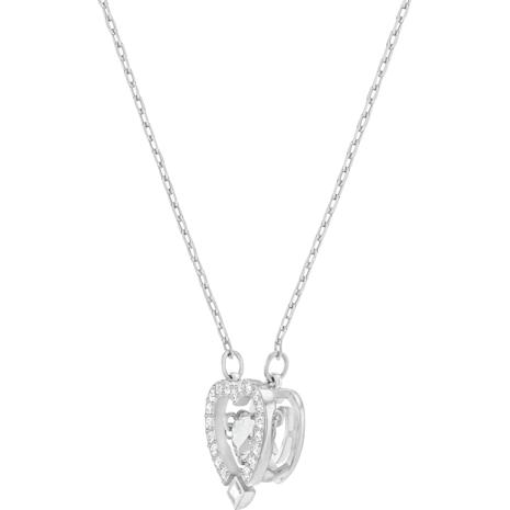 Swarovski Sparkling Dance Heart Necklace, White, Rhodium plated - Swarovski, 5272365