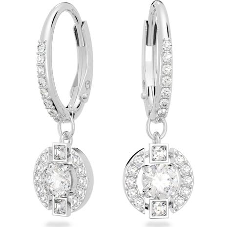 Swarovski Sparkling Dance Round Pierced Earrings, White, Rhodium plated - Swarovski, 5272366