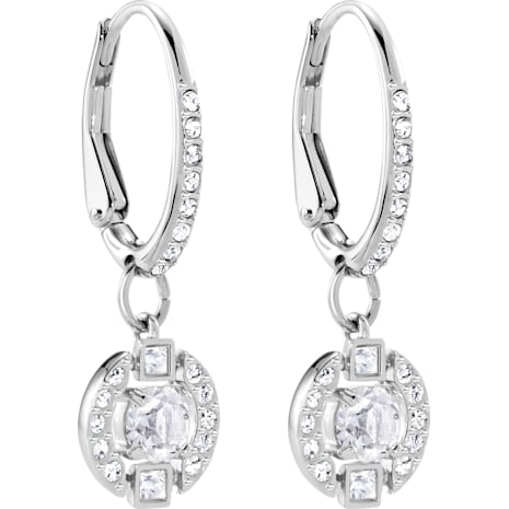 Swarovski Sparkling Dance Round Pierced Earrings, White, Rhodium plated - Swarovski, 5272366