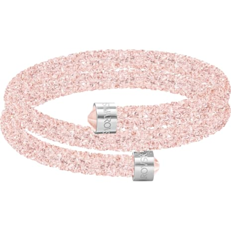 Crystaldust Double Bangle, Pink, Stainless steel
