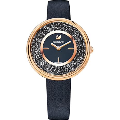 Crystalline Pure Watch, Leather strap, Black, Rose-gold tone PVD - Swarovski, 5275043