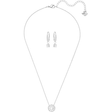 Sparkling Dance Round 套裝, 細碼, 白色, 鍍白金色 - Swarovski, 5279018