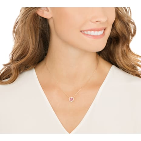 Collar Swarovski Sparkling Dance Round, rojo, Baño en tono Oro Rosa - Swarovski, 5279421