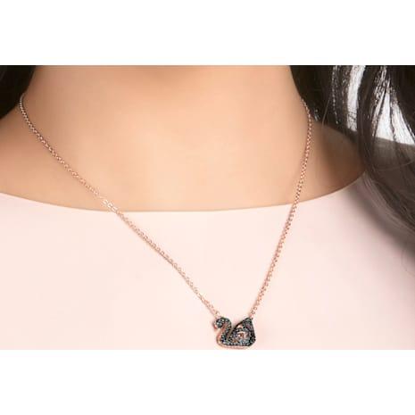 Facet Swan Kolye, Siyah, Karışık metal bitiş - Swarovski, 5281275