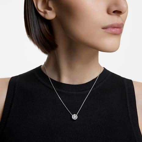Collar Swarovski Sparkling Dance Round, blanco, Baño de Rodio - Swarovski, 5286137