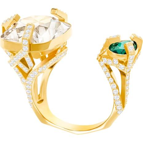 Anello aperto Haven, verde, placcatura oro - Swarovski, 5288948