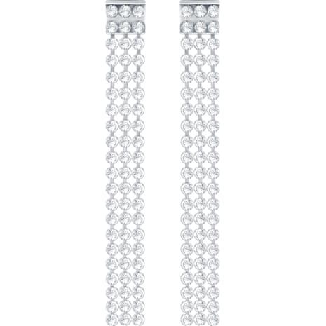 Fit Long Pierced Earrings, White, Palladium plating - Swarovski, 5293087