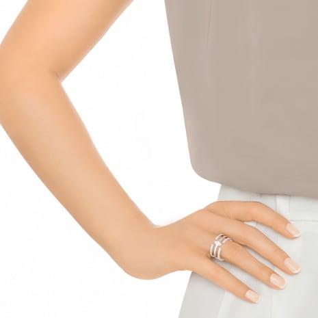 Gray Ring, Medium, White, Rhodium Plating - Swarovski, 5294978