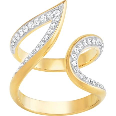 Groove Wide 開口戒指, 白色, 鍍金色色調 - Swarovski, 5294993