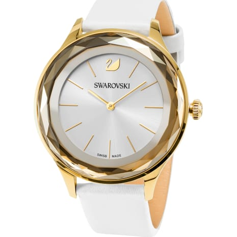 Montre Octea Nova, Bracelet en cuir, blanc, PVD doré - Swarovski, 5295337