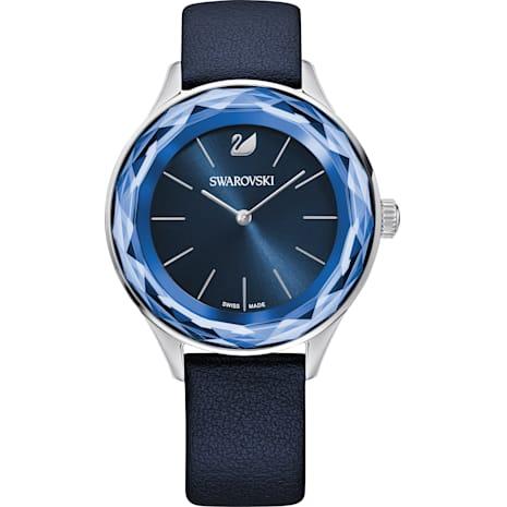 Octea Nova Watch, Leather strap, Blue, Stainless steel - Swarovski, 5295349