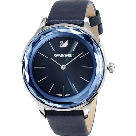 Octea Nova Uhr, Lederarmband, blau, Edelstahl - Swarovski, 5295349