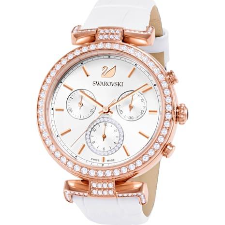 Montre Era Journey, Bracelet en cuir, blanc, PVD doré rose - Swarovski, 5295369