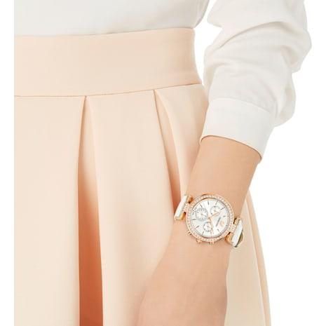 Era Journey Uhr, Lederarmband, weiss, Rosé vergoldetes PVD-Finish - Swarovski, 5295369