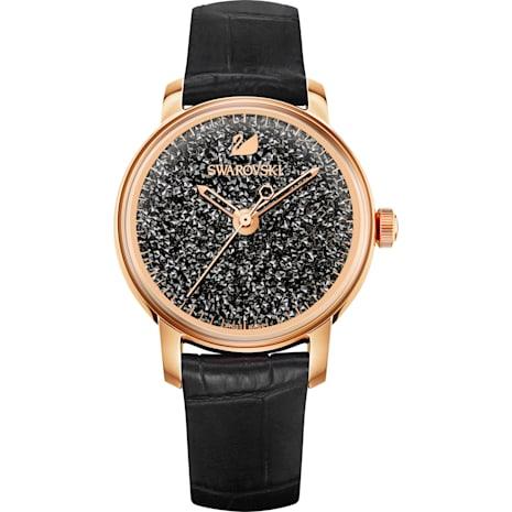Montre Crystalline Hours, Bracelet en cuir, noir, PVD doré rose - Swarovski, 5295377