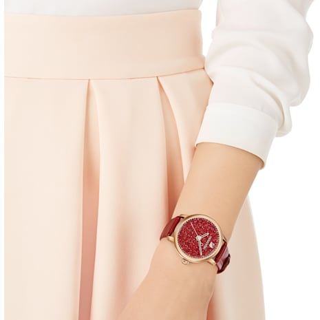 Crystalline Hours Watch, Leather strap, Red, Rose-gold tone PVD - Swarovski, 5295380