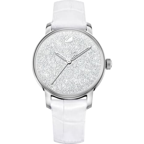 Crystalline Hours Watch, Leather strap, White, Stainless steel - Swarovski, 5295383