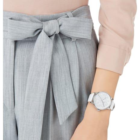 Montre Crystalline Hours, Bracelet en cuir, blanc, acier inoxydable - Swarovski, 5295383