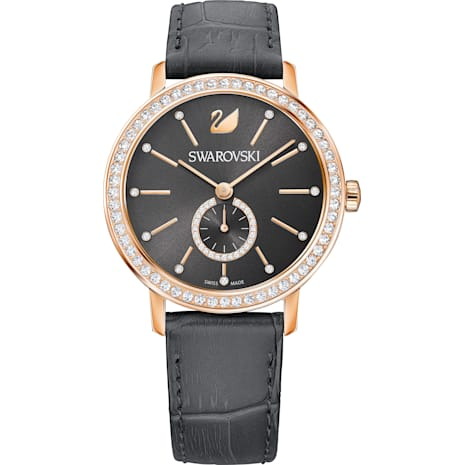 Graceful Lady Watch, Leather strap, Gray, Rose-gold tone PVD - Swarovski, 5295389