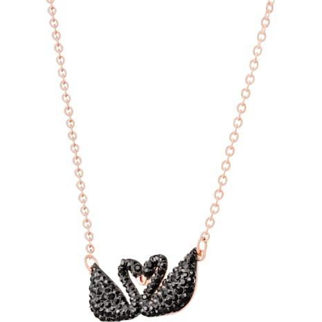 Collier Swarovski Iconic Swan, noir, Métal doré rose - Swarovski, 5296468
