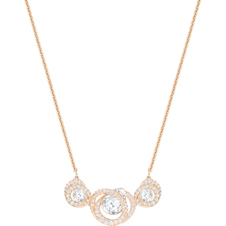 Generation Necklace, White, Rose-gold tone plated - Swarovski, 5298347