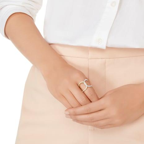 Bague Humming, blanc, combinaison de métaux plaqués - Swarovski, 5343741