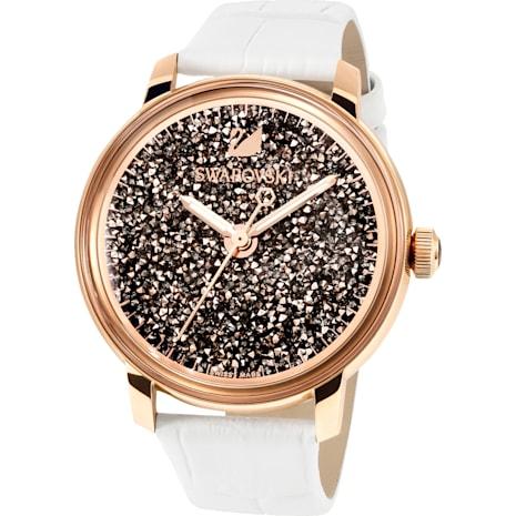 Crystalline Hours Watch, Leather strap, White, Rose-gold tone PVD - Swarovski, 5344635