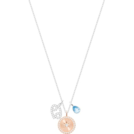 Zodiac Pendant, Cancer, Aqua, Rhodium plated - Swarovski, 5349215