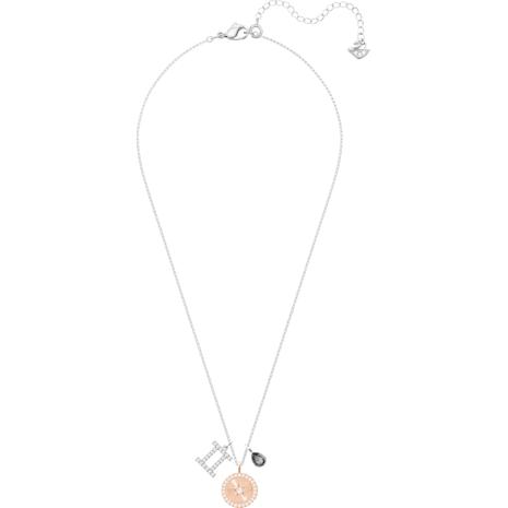 Zodiac Pendant, Gemini, Gray, Rhodium plated - Swarovski, 5349217