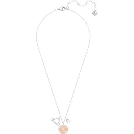 Zodiac Pendant, Libra, White, Rhodium plated - Swarovski, 5349218