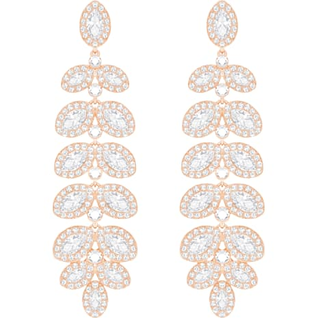 Boucles d'oreilles Baron, blanc, Métal doré rose - Swarovski, 5350617