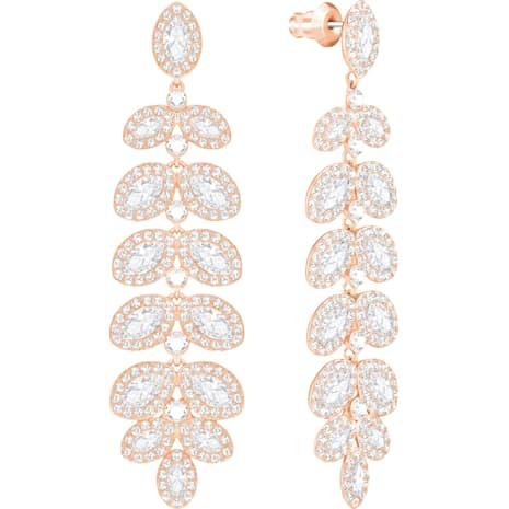 Pendientes Baron, blanco, Baño en tono Oro Rosa - Swarovski, 5350617