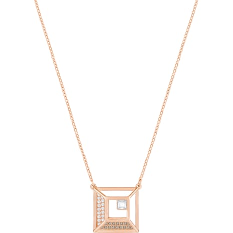 Hillock Square Pendant, White, Rose-gold tone plated - Swarovski, 5351080