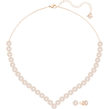 Angelic Square Set, Large, White, Rose-gold tone plated - Swarovski, 5351304
