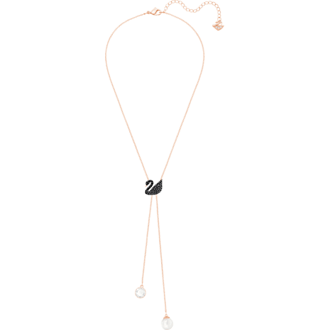 Collier en Y Swarovski Iconic Swan, noir, Métal doré rose - Swarovski, 5351806