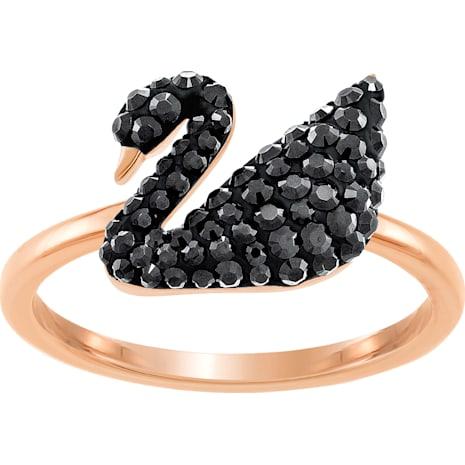 Anillo Swarovski Iconic Swan, negro, Baño en tono Oro Rosa - Swarovski, 5358024