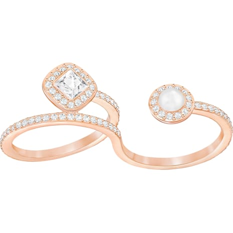 Angelic Pearl Double Ring, White, Rose-gold tone plated - Swarovski, 5362583