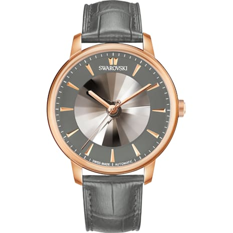 Atlantis Limited Edition Automatic Men's Watch, Leather strap, Gray, Rose-gold tone PVD - Swarovski, 5364203