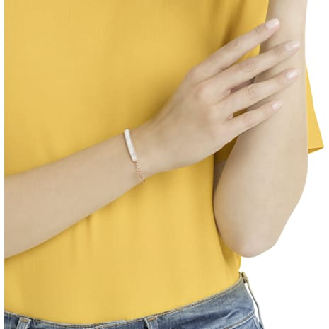 Locket Bracelet, White, Rose-gold tone plated - Swarovski, 5367822