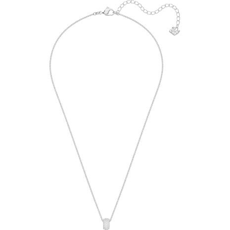 Stone Round Pendant, White, Rhodium plated - Swarovski, 5368042