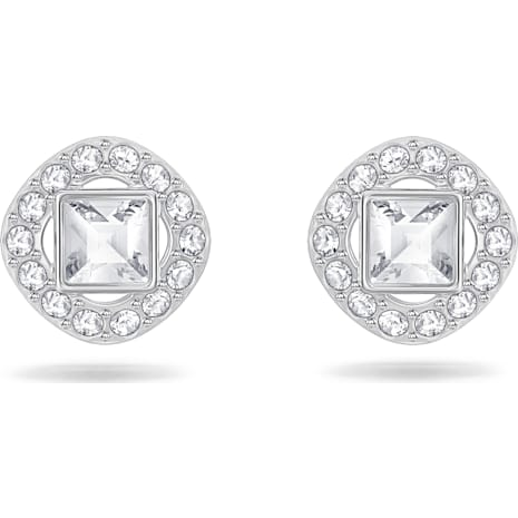 Angelic Square Pierced Earrings White Rhodium Plated