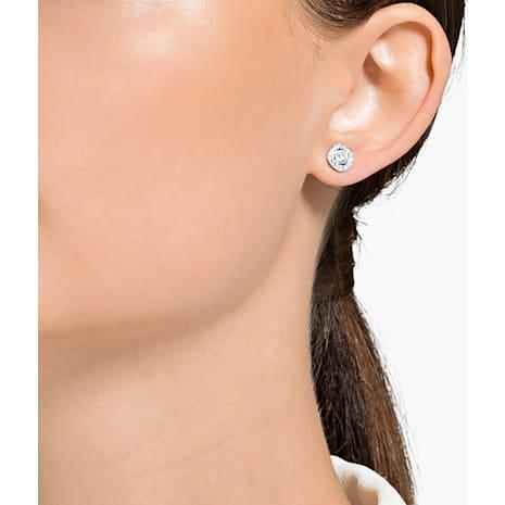 Angelic Square Pierced Earrings, White, Rhodium plated - Swarovski, 5368146