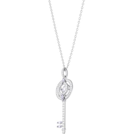 Swarovski Sparkling Dance Key Pendant, White, Rhodium plated - Swarovski, 5368263
