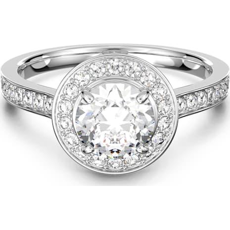 Attract Round Кольцо, Белый Кристалл, Родиевое покрытие - Swarovski, 5368545