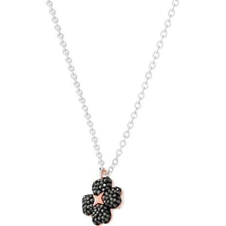 Latisha Flower Pendant, Black, Mixed metal finish - Swarovski, 5368980